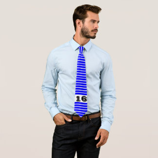 Blue Striped Neck tie with Customized No.16
