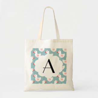 Blue Striped Pattern With White Ducks Tote Bag