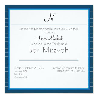 Blue Striped Personal Initial Bar Mitzvah Card