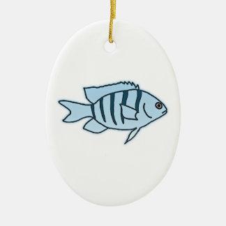 Blue Striped Reef Fish (Sergeant Major) Ceramic Ornament