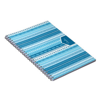 Blue striped sewing stitched pattern with name spiral notebook