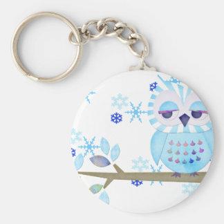 Blue Striped Winter Snow Owl Key Ring