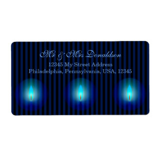 Blue Stripes Address Shipping Label