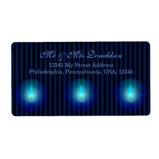 Blue Stripes Address Shipping Label