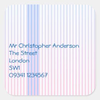 Blue Stripes Address Square Sticker