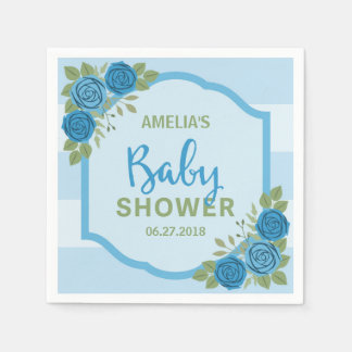 Blue Stripes and Roses Boy Baby Shower Paper Serviettes