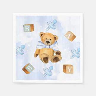 Blue Stripes and Teddy Bears Baby Shower Paper Napkin