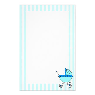 Blue Stripes Baby Carriage Stationery