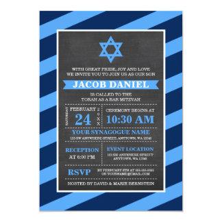 Blue Stripes Chalkboard Bar Mitzvah Invitations