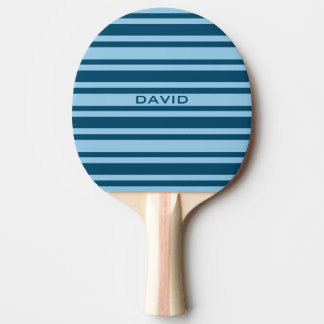 Blue Stripes custom monogram ping pong paddle