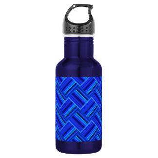 Blue stripes diagonal weave pattern 532 ml water bottle