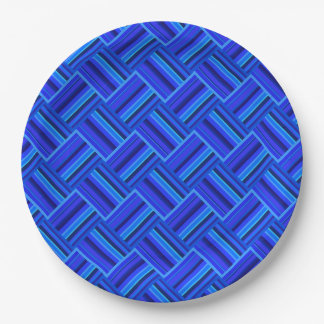 Blue stripes diagonal weave pattern paper plate