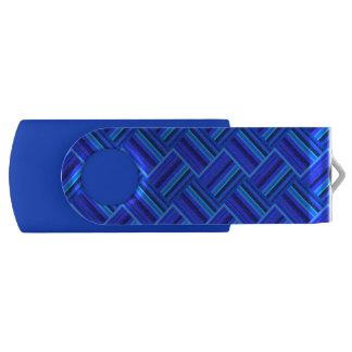 Blue stripes diagonal weave pattern USB flash drive