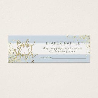 Blue Stripes Diaper Raffle Gold Script & Confetti Mini Business Card