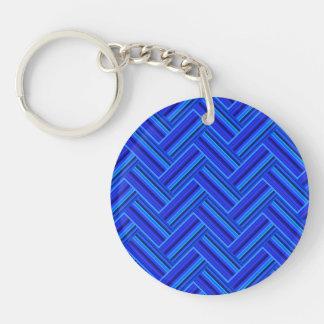 Blue stripes double weave pattern key ring