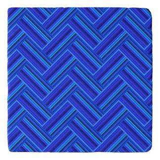 Blue stripes double weave pattern trivets