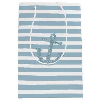 Blue Stripes Faux Glitter Anchor Medium Gift Bag
