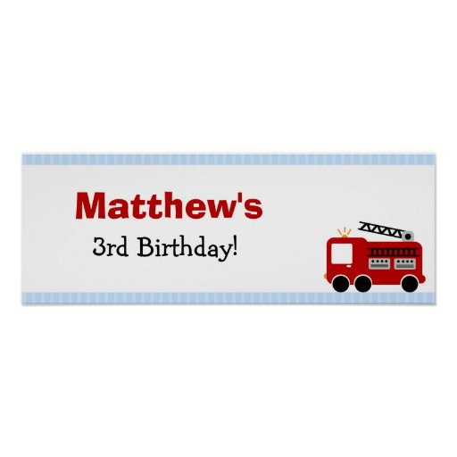 Blue Stripes Fire Truck Birthday Party Banner Poster
