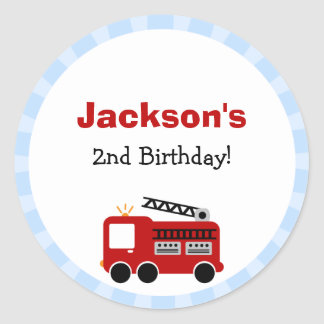Blue Stripes Fire Truck Birthday Stickers