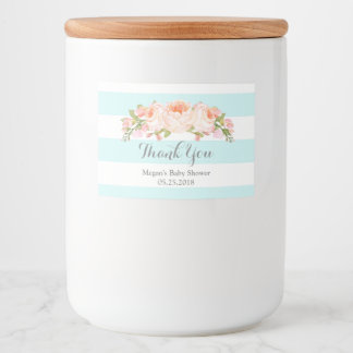 Blue Stripes Floral Baby Shower Label