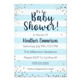 Blue Stripes & Glitter Baby Boy Shower Invitation