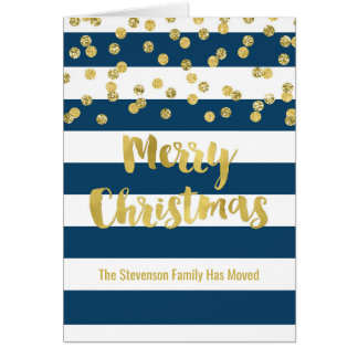 Blue Stripes Gold Confetti Christmas New Address Card