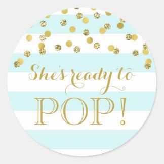 Blue Stripes Gold Confetti She's Ready to Pop Classic Round Sticker