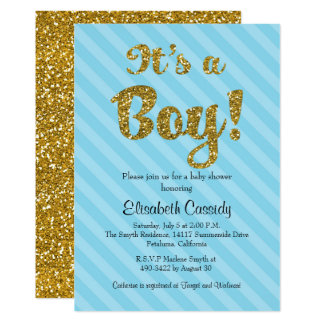 Blue Stripes & Gold Glitter Baby Shower Invite