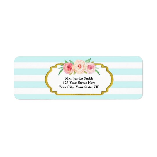 Blue Stripes Gold Pink Floral Return Address Label