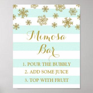Blue Stripes Gold Snow Mimosa Bar Sign