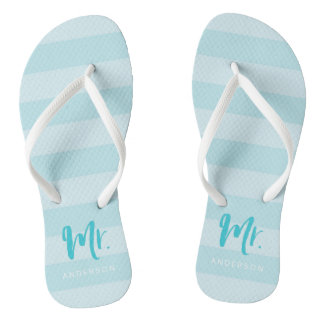 Blue Stripes Personalize with Name Mr Thongs
