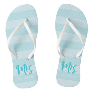 Blue Stripes Personalize with Name Mrs Thongs