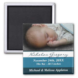 Blue Stripes Photo Birth Announcement Magnet