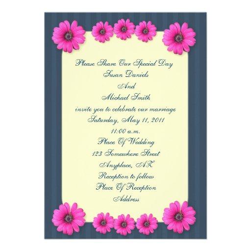 Blue Stripes Pink Daisy Flowers Wedding Invitation