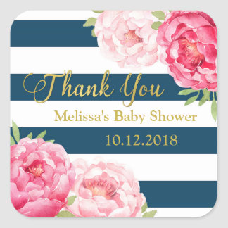 Blue Stripes Pink Floral Baby Shower Thank You Square Sticker