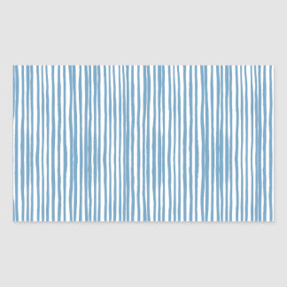 Blue stripes rectangular sticker