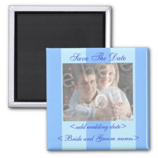 Blue Stripes Save The Date Photo Magnet