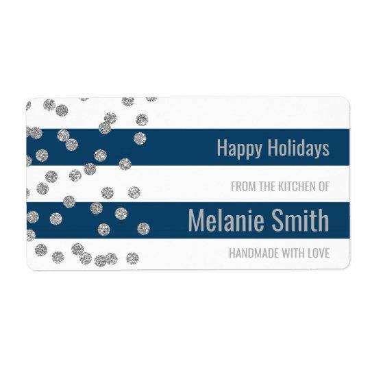 Blue Stripes Silver Confetti Baking Labels
