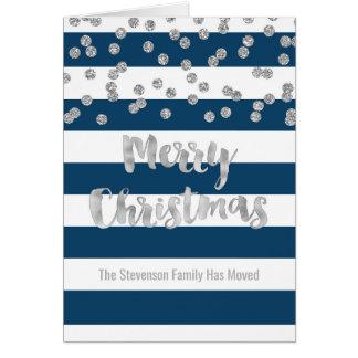 Blue Stripes Silver Confetti Christmas New Address Card