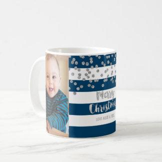 Blue Stripes Silver Confetti Photo Merry Christmas Coffee Mug