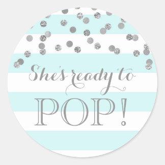 Blue Stripes Silver Confetti She's Ready to Pop Classic Round Sticker