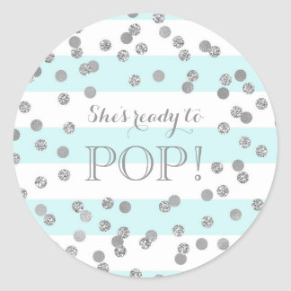 Blue Stripes Silver Confetti She's Ready to Pop Classic Round Sticker