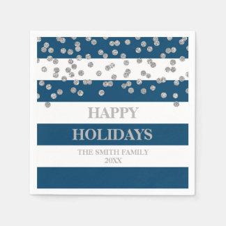 Blue Stripes SilverConfetti Moder Christmas Napkin Disposable Napkin