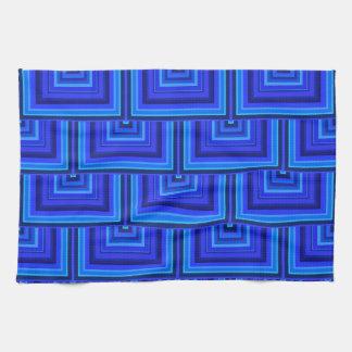Blue stripes square scales pattern tea towel
