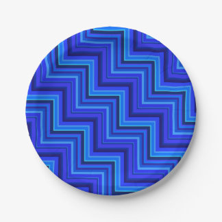 Blue stripes stairs pattern 7 inch paper plate