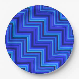 Blue stripes stairs pattern 9 inch paper plate