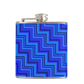 Blue stripes stairs pattern hip flask