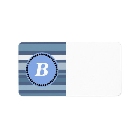 Blue Stripes with Monogram Address Label