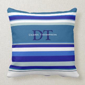 blue stripes with monogram throw pillow