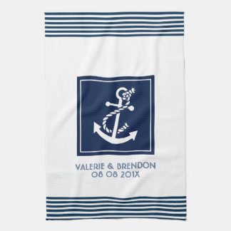 Blue Stripes With White Nautical Boat Anchor Tea Towel